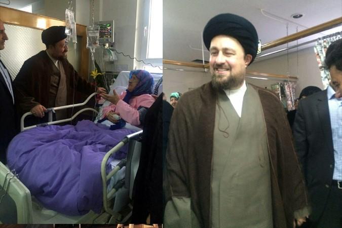 حجت الاسلام والمسلمین سید حسن خمینی به منظور بررسی روند درمانی مادر شهیدان گروسی، در بیمارستان خاتم انبیا  حضور یافت.