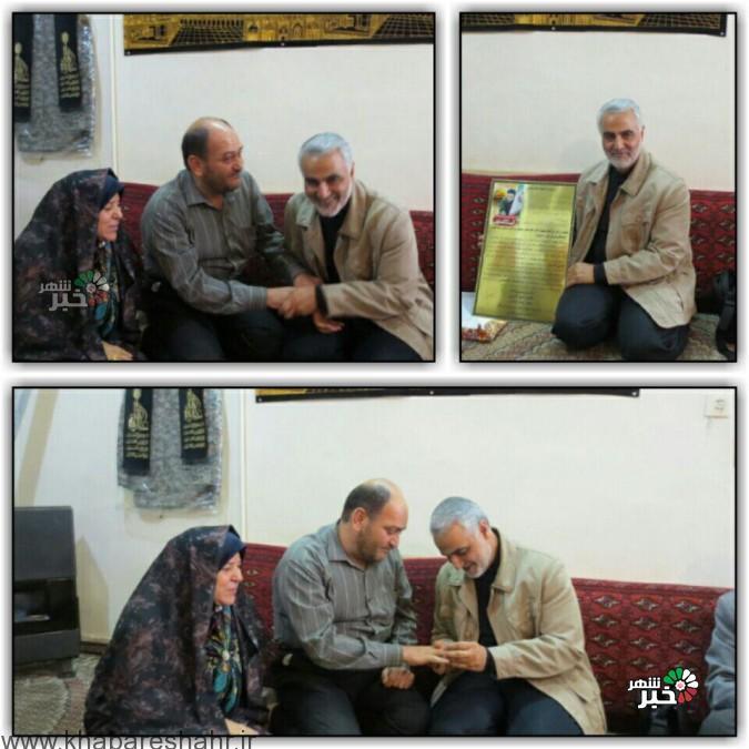 حضور سردار دلها حاج قاسم سلیمانی در بیت فدایی حضرت زینب (س) شهیدعباس آبیاری