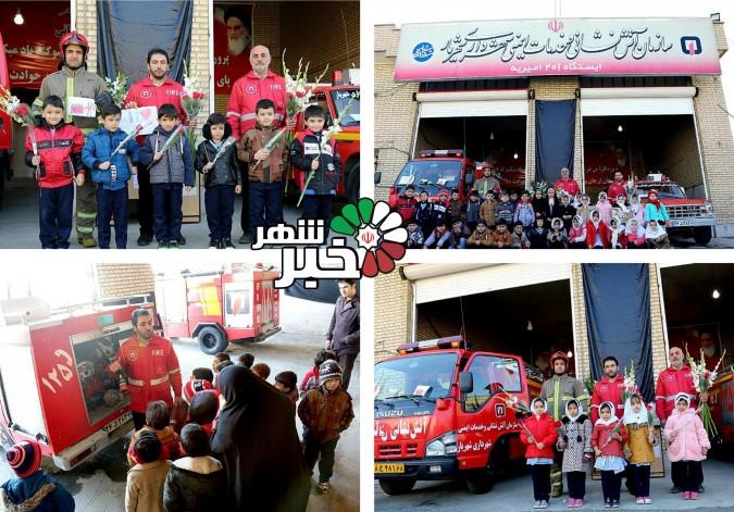 تسلیت به اتشنشانهای ایستگاه ۲۰۱ عملیاتی شهرک امیریه توسط بچههای مرکز قرانی نورالمهدی عج
