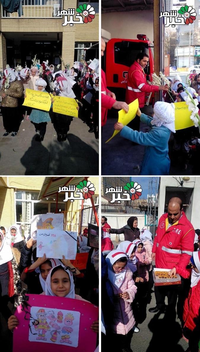 دیدار دانش آموزان مدرسه هجرت با آتش نشانان ایستگاه مرکزی شهریار