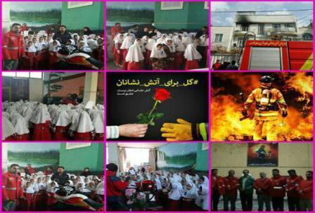 دانش آموزان شهر قدسی در دو ایستگاه آتش نشانی ادای احترام کردند