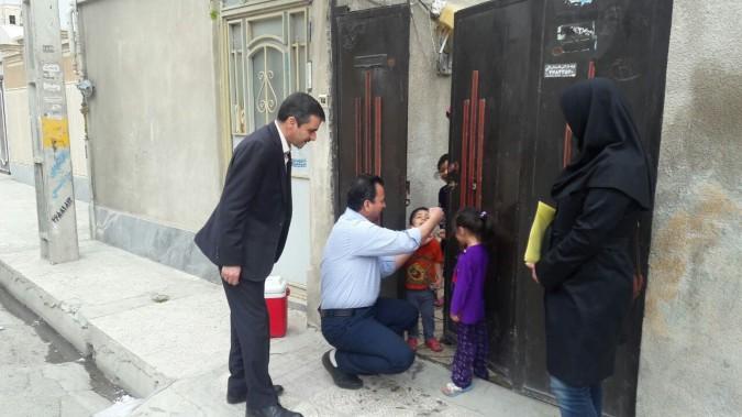 اجرای عملیات ایمن سازی تکمیلی فلج اطفال در سال 96 در شهرستان قدس
