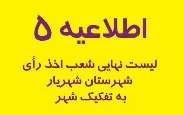 لیست شعب اخذ رأی شهرستان شهریار به تفکیک شهر