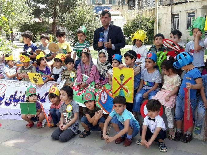 راهپیمایی کودکان مهدهای کودک به مناسبت هفته مبارزه با مواد مخدر در شهرستان ملارد