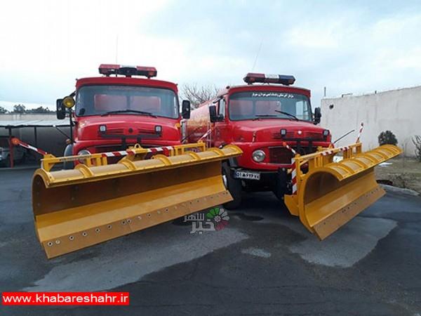 آمادگی سازمان آتش نشانی شهریار جهت امداد رسانی به شهروندان در زمان بارش برف و بحران های احتمالی