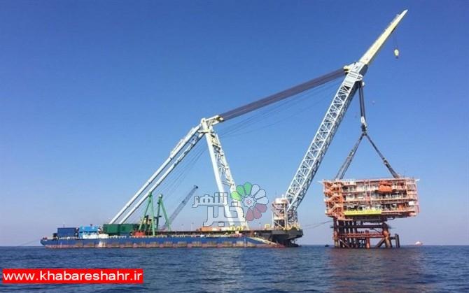 نصب دومین سکوی گازی فاز ۱۳ پارس جنوبی در آبهای خلیج فارس+ تصاویر