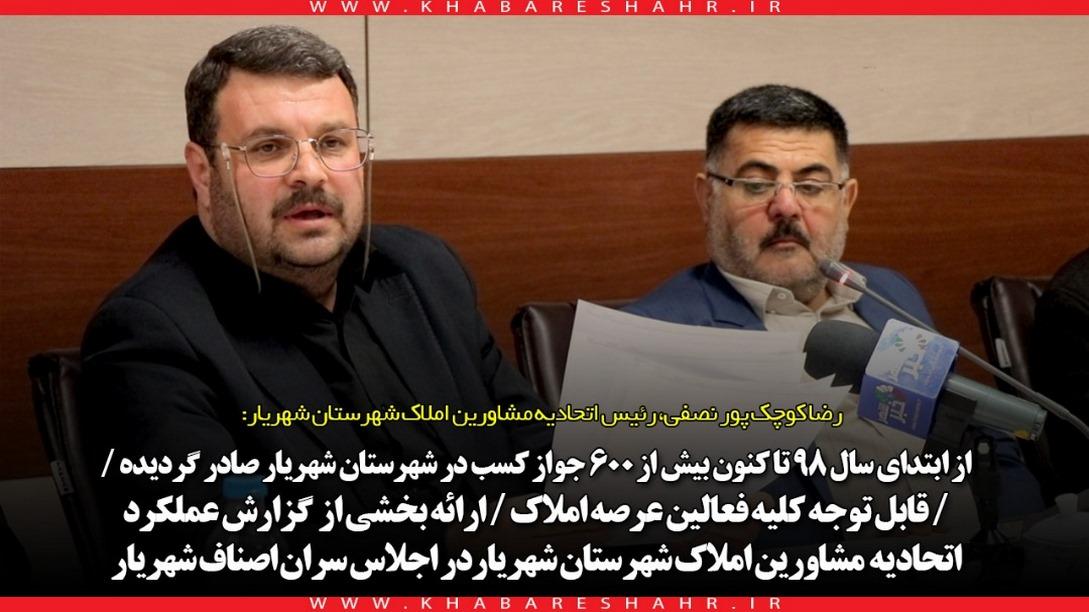 رضا کوچک پور نصفی، رئیس اتحادیه مشاورین املاک شهرستان شهریار: