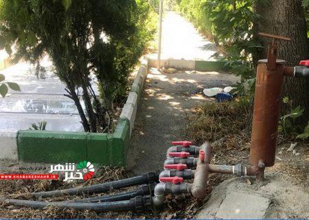 اصلاح و بهسازی سیستم آبیاری قطره ای فضای سبز فاز یک و دو بهشت رضوان