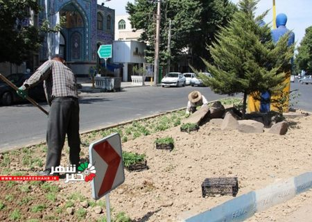 کاشت انواع بوته های گل در میادین و بلوارهای سطح شهر