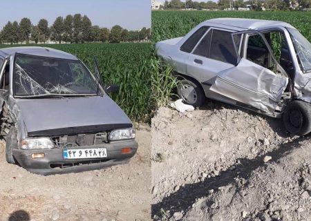 واژگونی خودرو پراید در بلوار شورا
