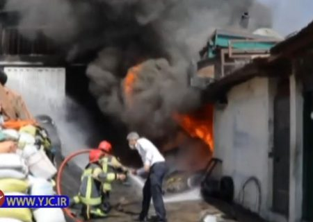 آتش سوزی دپوی لاستیک فرسوده در شهریار