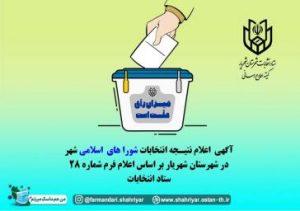 نتایح نهایی انتخابات شورای اسلامی در شهرستان شهریار