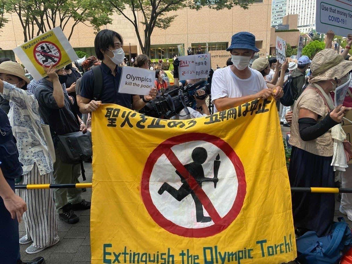 تجمع معترضین در توکیو برای لغو المپیک